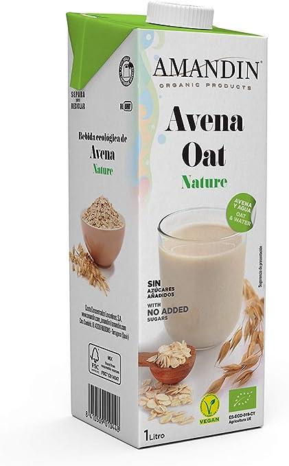 Amandin - Bebida De Avena Nature (Sin Aceite), 1L, 1 unidad: Amazon.es: Alimentación y bebidas