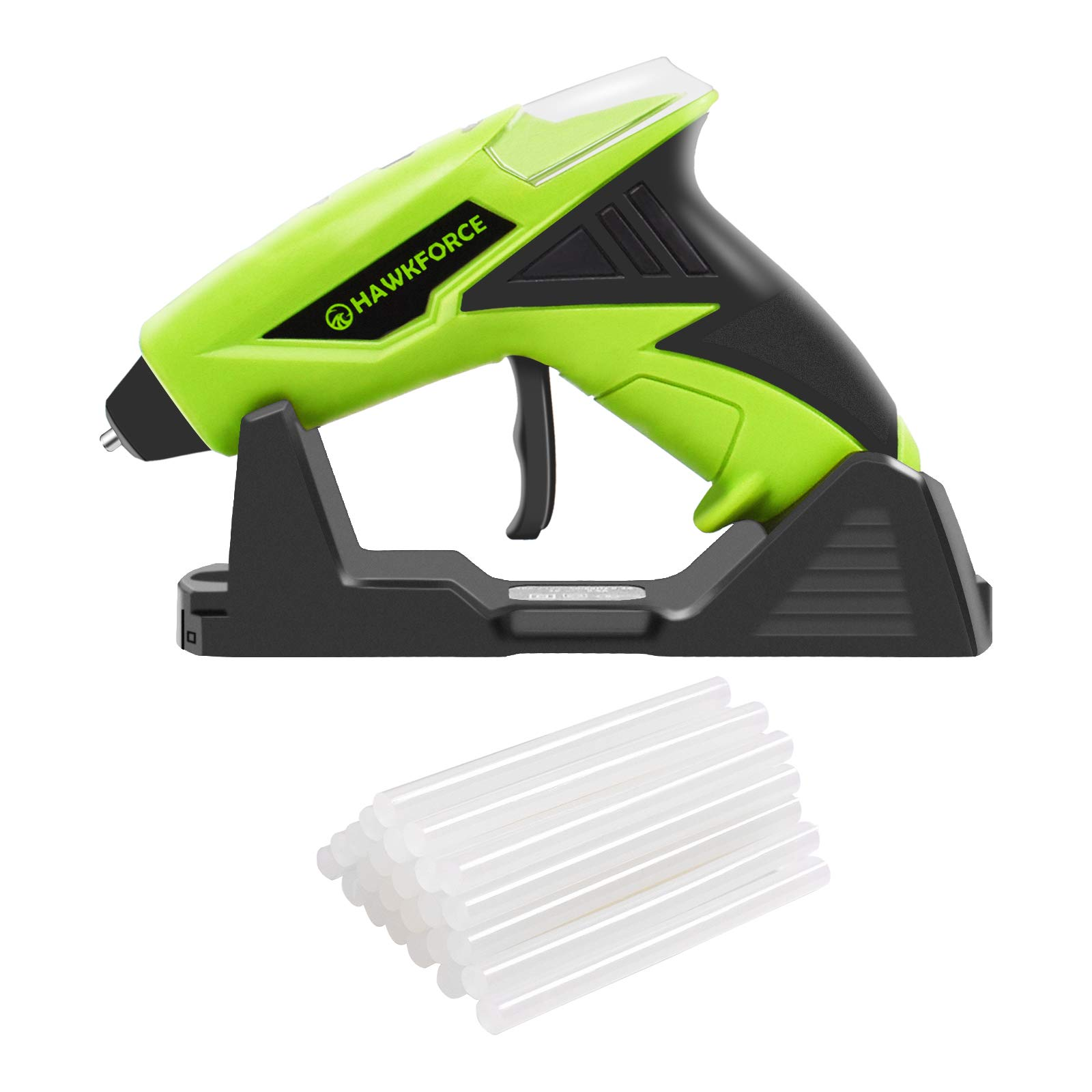 HAWKFORCE Cordless Glue Gun with 25pcs Glue Sticks and Stander High Temperature Energy Efficient Flexible Trigger USB Charging Glue Gun Kit for Home Quick Repair, DIY Small Arts & Crafts Projects