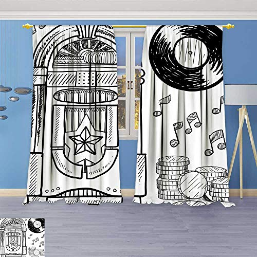 Philiphome Thermal Insulated Blackout Curtain Style Retro Music Box Notes Coins Long Play Vintage Sketchy Artwork Black and Living Room Bedroom Window Drapes 2 Panel Set