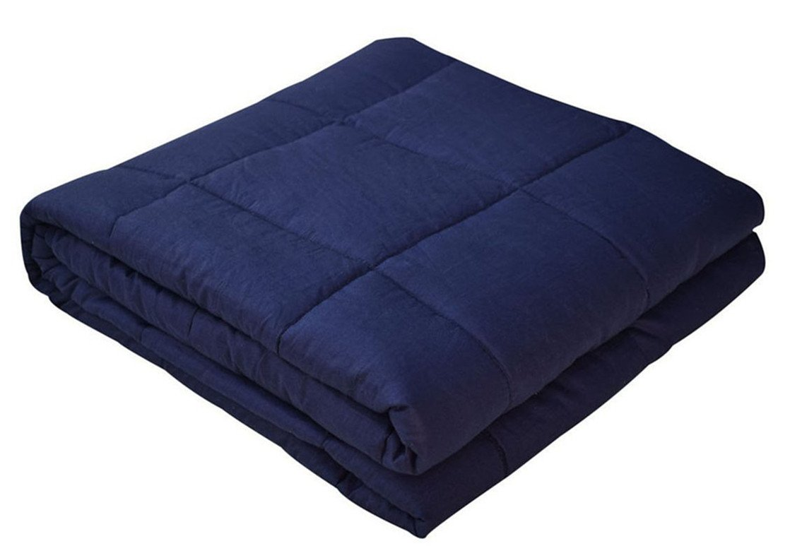 Weighted Blanket | Heavy Sensory Blanket | Bed Blanket | Couch Blanket | Gravity Blanket for Sleep, Stress, and Anxiety Navy 48''x72''-15 LB