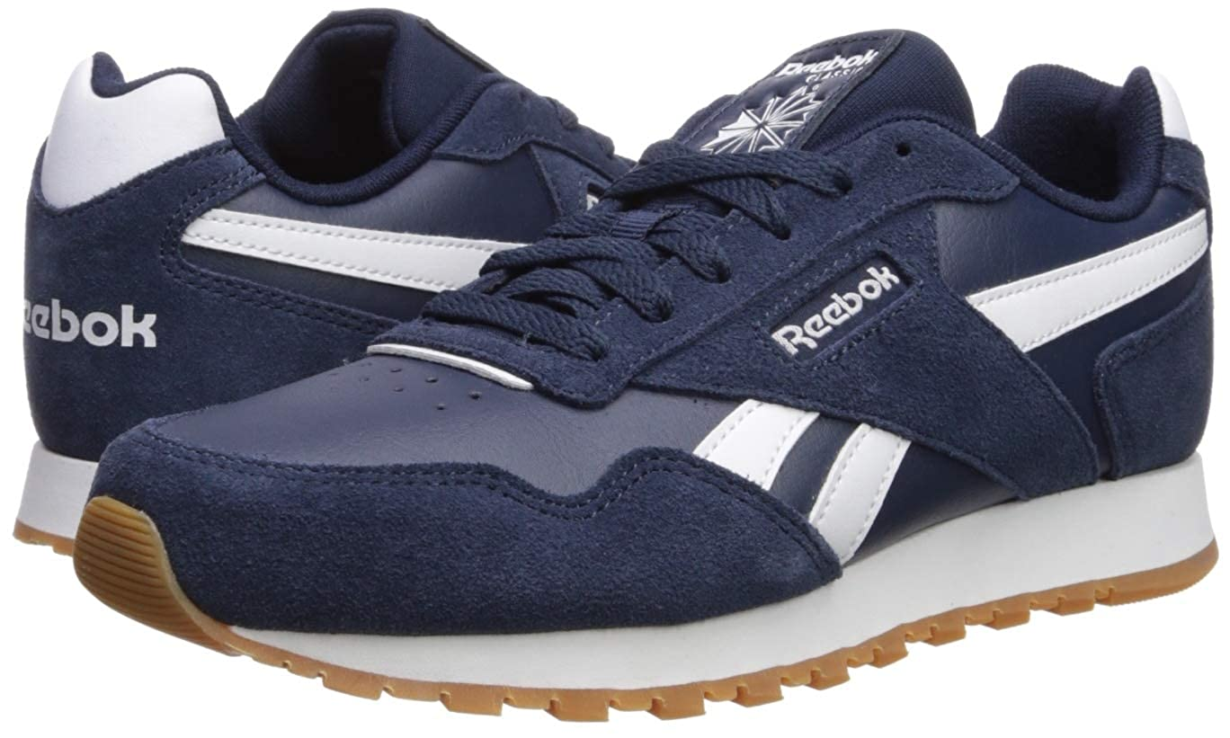 5 M US Big Kid Collegiate Navy//White Reebok Boys Classic Harman Run Sneaker