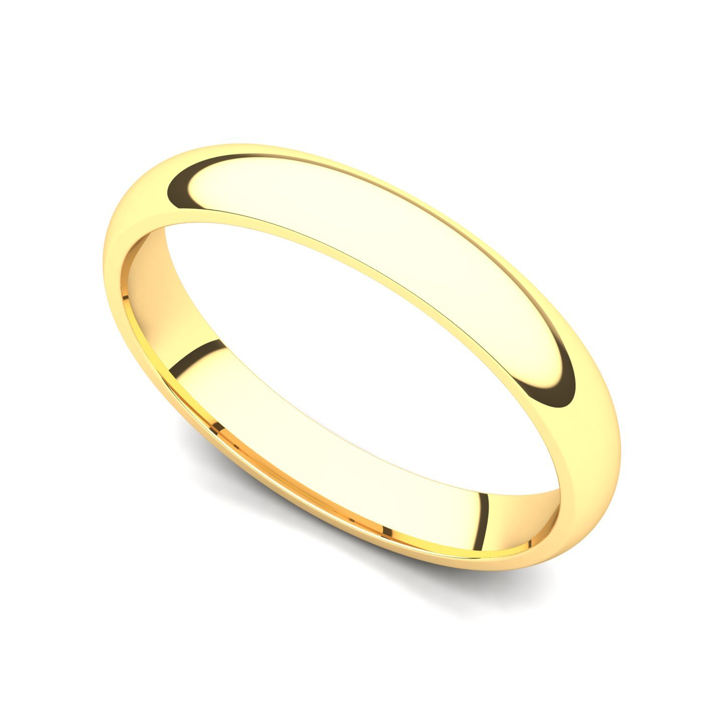 14k Yellow Gold 3mm Classic Plain Comfort Fit Wedding Band Ring, 5.5