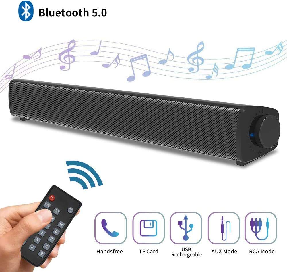 Sound Bar for TV Soundbar with Dual Built-in Subwoofer 15.8 Inch 3D Surround Sound for Home Theater Wired & Wireless Bluetooth 5.0 Audio Speaker for PC/Phone 3 Equalizer Modes with DSP Remote Control