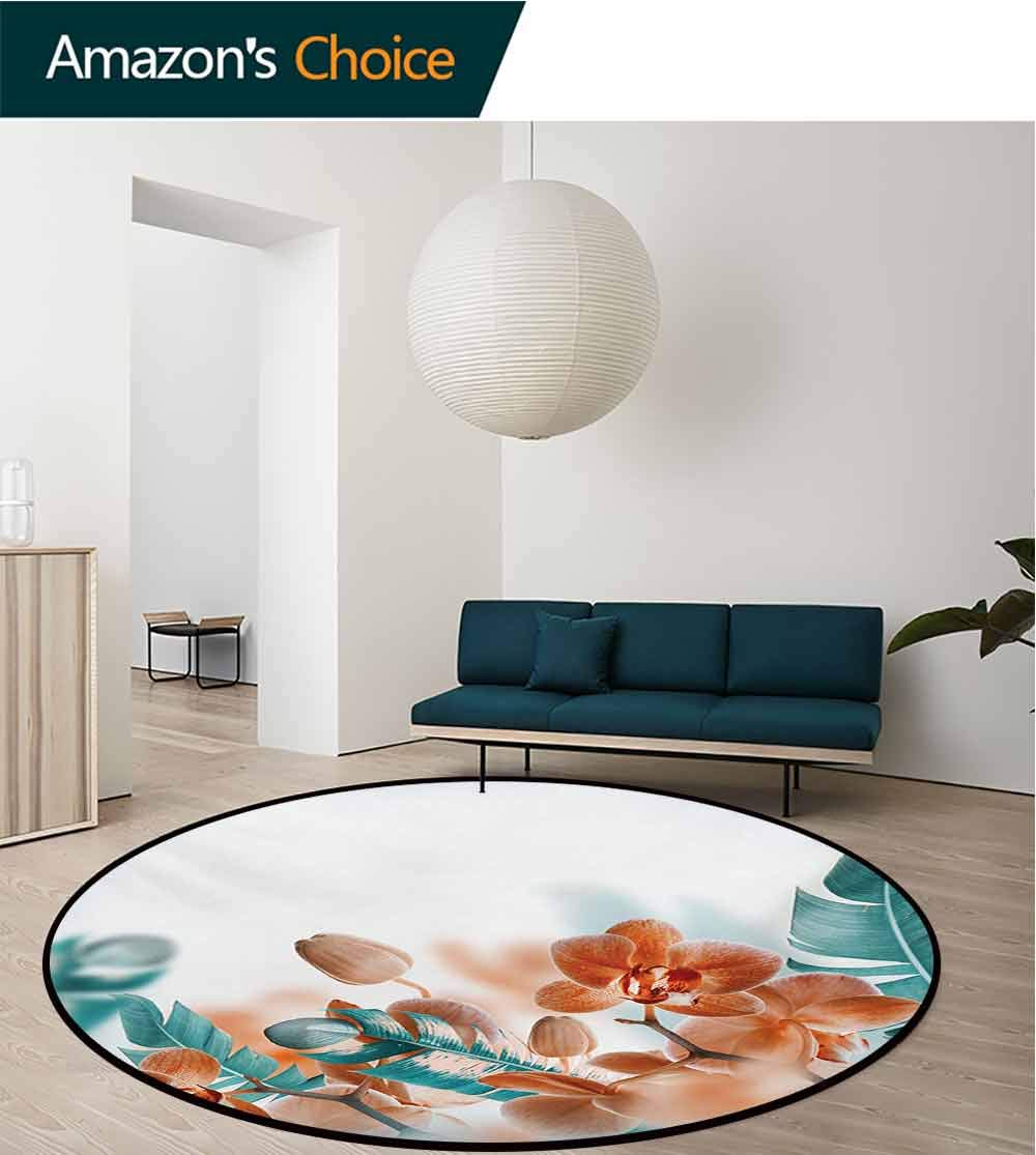 RUGSMAT Tropical Modern Machine Round Bath Mat,Tropical Orchids Blossom Leaves On Blurred Background Floral Themed Modern Art Non-Slip No-Shedding Kitchen Soft Floor Mat,Diameter-39 Inch