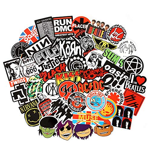 S] Rock and Roll Music Stickers Pack Vinyl Waterproof Stickers for Electronic Organ Guitar Piano Violin Drum kit Flute Brass Decals and Stickers for Laptop Skateboard Luggage ()