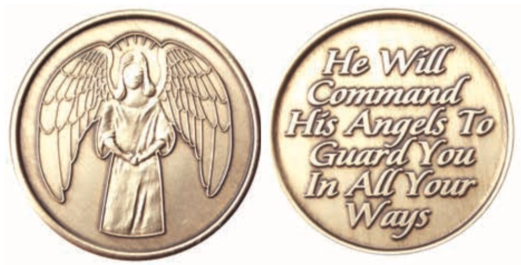 Wendells - Guardian Angel Bronze Medallion Chip He Will Command His Angels To Guard You In All Your Ways