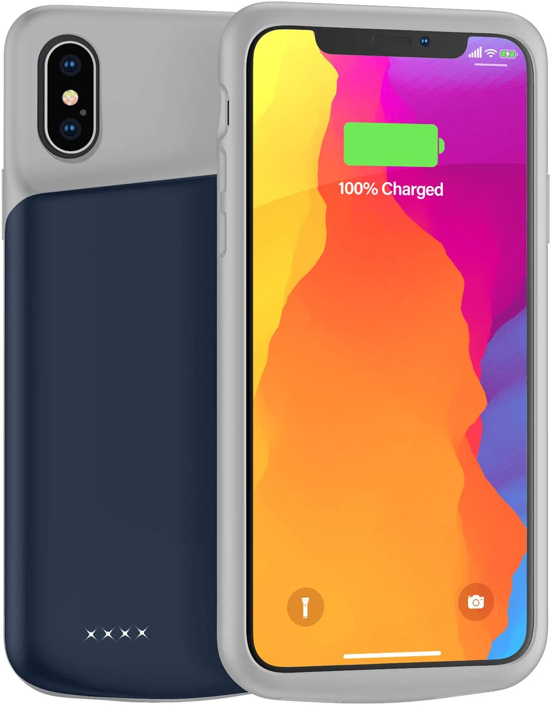 Lonlif Battery Case for iPhone X/XS/10, 4000mAh Ultra Slim Rechargeable Protective Charging Case, Extended Portable Battery Pack Charger Case Compatible with iPhone X/XS/10 (Blue)