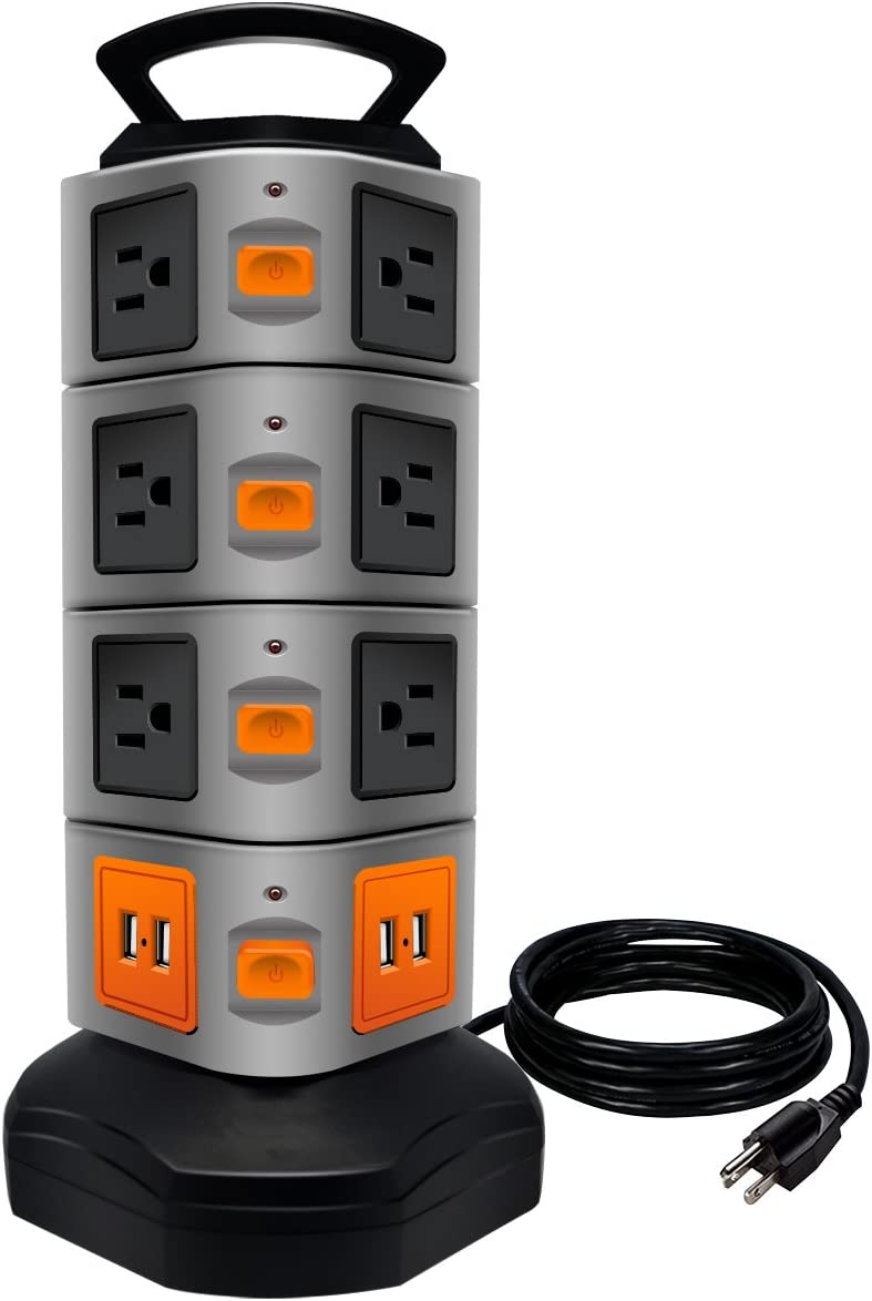 Power Strip Tower, Lovin Product Surge Protector Electric Charging Station, 14 Outlet Plugs with 4 USB Slot 6 feet Cord Wire Extension Universal Charging Station 1-PACK