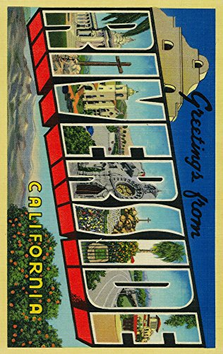 (Greetings from Riverside, California - Vintage Halftone (36x54 Giclee Gallery Print, Wall Decor Travel Poster))