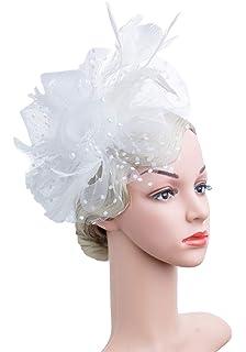 Czioe Flower Cocktail Tea Party Headwear Derby Wedding Kentucky Mesh  Feather Fascinators Hats for Girls and 10c6a500708