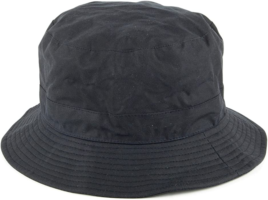 9f5bd1c0574 Packable Water Resistant Waxed Cotton Bucket Hat - Navy. Back. Double-tap  to zoom