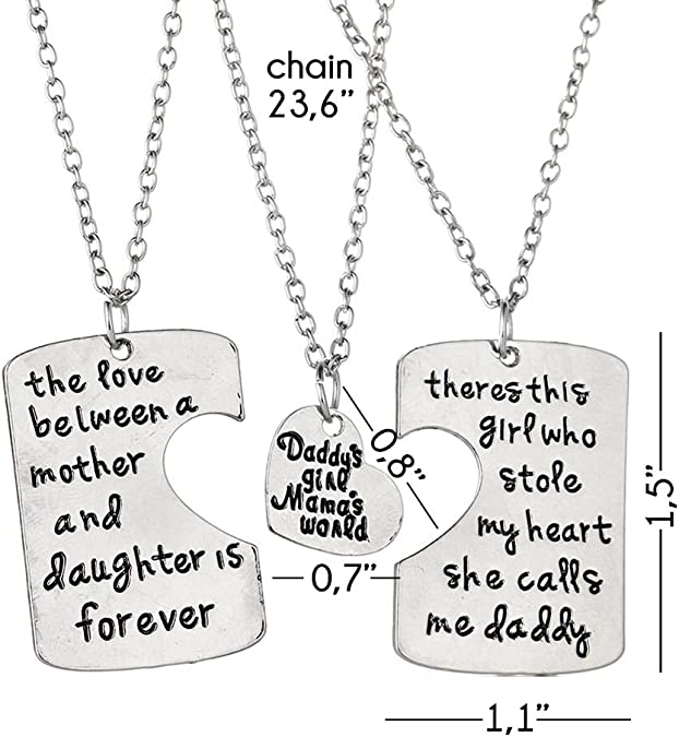 "Luvalti /""Daddys Girl Mamas World/"" Necklace Best Luvalti-90 Adorable Round Pendant Necklace Set of 3"