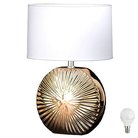 Lámpara de mesa Salón habitaciones textil Foco Blanco ...