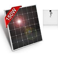 DOKIO Panel Solar Monocristalino 150w 12v ,ALTA EFICIENCIA,ROBUSTO para carga de batería CASA RV