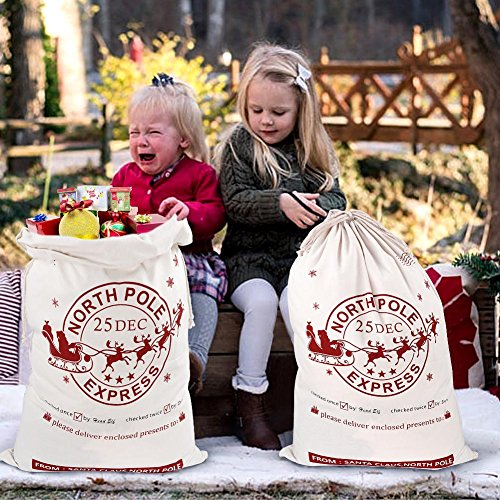 1s Fireplace (Aytai 2pcs Large Santa Sacks with Drawstring Christmas Bag, Christmas Gift Bags for Kids 27 x 19 Inch Canvas Xmas Presents Storage)