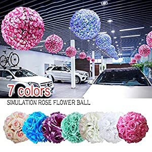 Silk Flower Balls Wedding,6 inch Artificial Flower Rose Flower Kissing Balls for Wedding Ceremony Birthday Garden Home Decoration 54