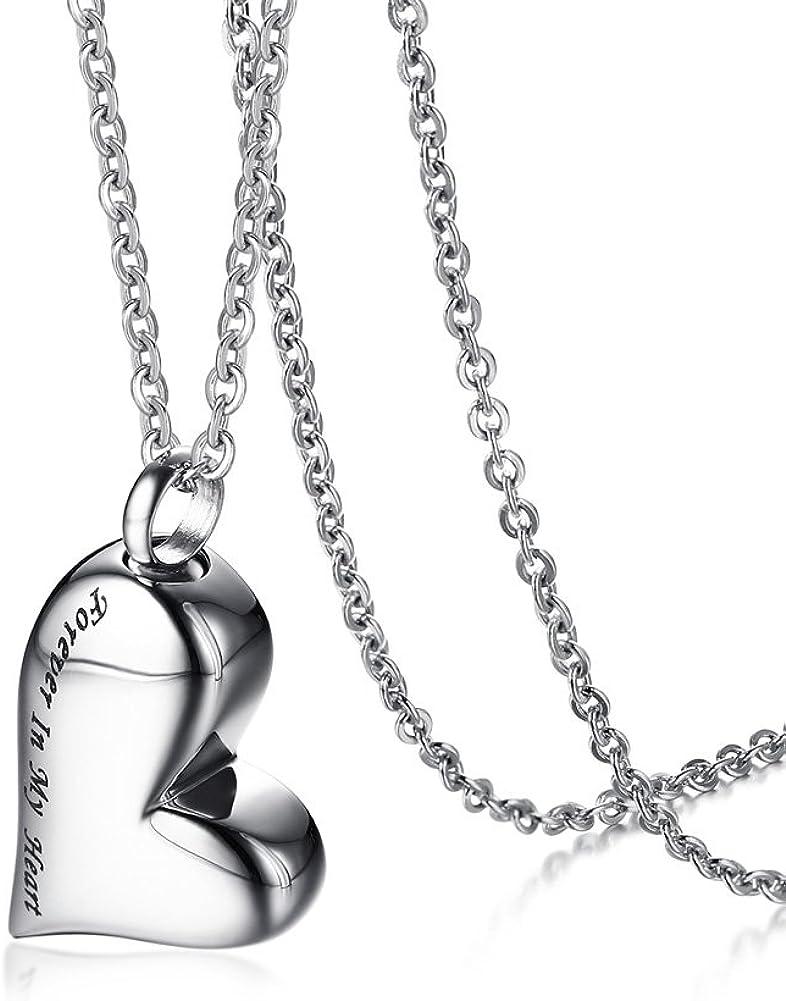 VNOX Siempre en mi corazón/Animal Paw Monumento de Ceniza Recuerdo Corazón Urna Charm Colgante Collar