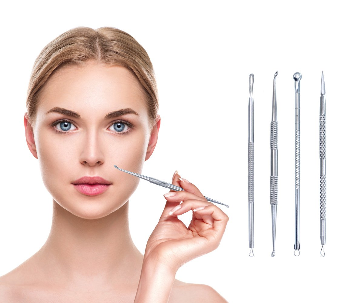 Blackhead Blemish Acne Remover Needle Tool Stainless Steel- 4 Professional Surgical Extractor Instruments – Easily Cure Pimples, Blackheads, Comedones, Acne, and Facial Impurities