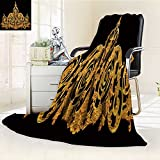 DOLLAR Blanket,ornament elements vintage gold floral designs Traveling, Hiking, Camping, Full Queen, TV, Cabin, Couch, Bed Throw(60''x 50'')