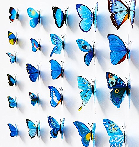 Waterproof/Removable And Beautiful Wall Stickers/Decals, Wall Decor/Picture, Home Decor Art, For Bathroom/Bedroom/Study Room/Living Room/Kitchen Oil-Proof/Children's Room/Toilet Seat/Switchplate/TV Wall Panel/Kindergarten/Photo Wall/Skirtings/Tile/Glasses, Vinyl Sticker Sign Reminder For Us, Mural Self Adhesive Paper Art Deco, Measure Height, 3D Stickers; Plastic 12PCS Butterfly Stickers Crafts, Blue