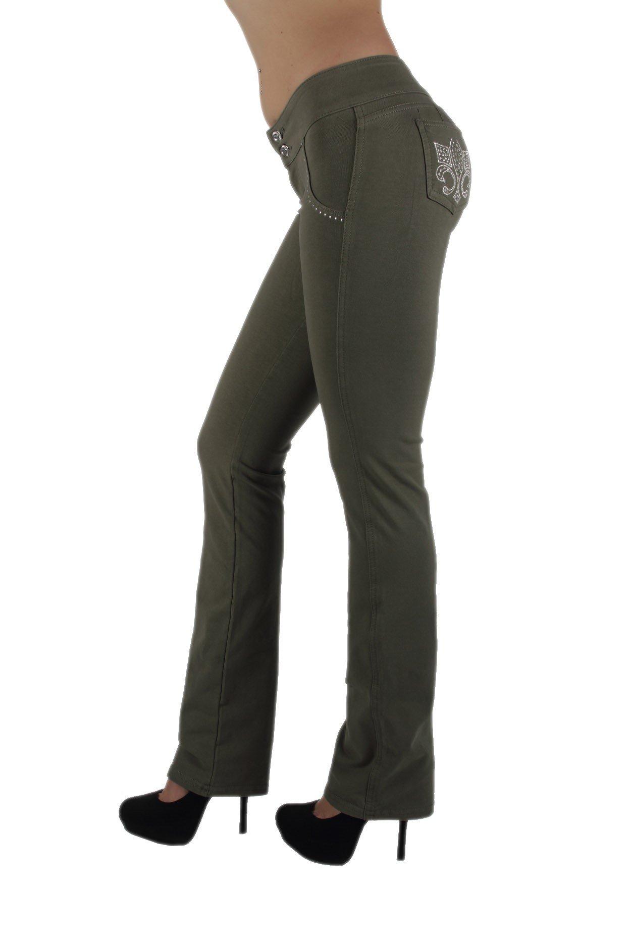 U-Turn Jeans 3033 - Brazilian Style Butt Lift, Levanta Cola, Fashion Moleton, Boot Leg in Olive Size L