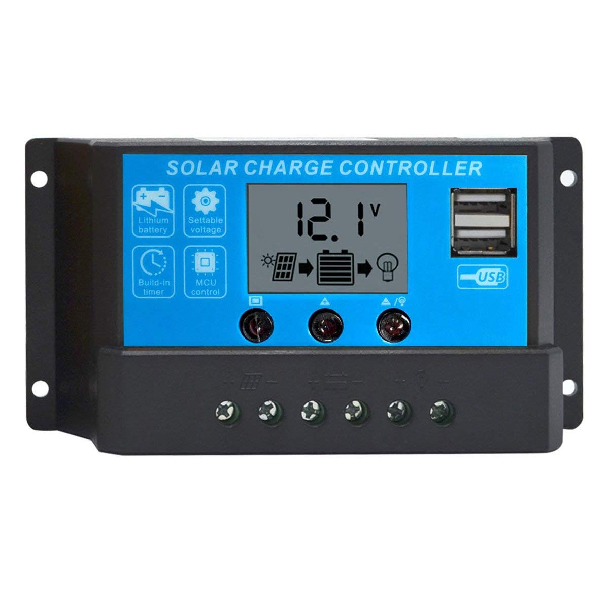 ACOPOWER 10Amp PWM Solar Charge Controller Solar Panel Battery Intelligent Regulator with USB Port LCD Display 12V/24V