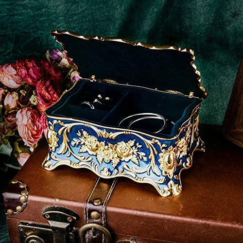 Feyarl Vintage Rectangle Trinket Jewelry Box Ornate Ring Earrings Treasure Case Keepsake Box Organizer Antique Finish Engraved with 2 layers Dividers Inside Christmas Gift (Blue) 7.1 x 4.7 x 3.1 inches