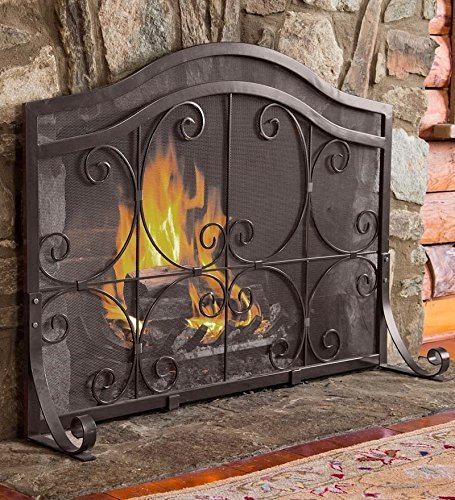 - Large Crest Flat Guard Fireplace Screen, Solid Wrought Iron Frame with Metal Mesh, Decorative Scroll Design, Free Standing Spark Guard - 41 W x 33 H at Center, 27.25 H at Ends - Black Finish