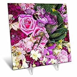 3dRose Danita Delimont - Flowers - Southeast Asia, Thailand, Bangkok, Colorful Flower Market Display - 6x6 Desk Clock (dc_276971_1)