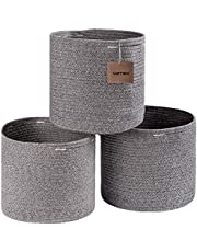 voten Cotton Rope Storage Baskets Bins 3 Pack Storage Cube Organizer Foldable Decorative Woven Basket with Handles for Clothes,Toys,Laundry,Books,Towels,Nursery(Round,11x11x11,Grey)