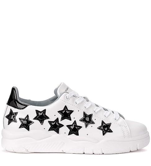 bbac800ffe0c0 Sneaker Chiara Ferragni Roger in Pelle Bianca con Stelle Nere  Amazon.it   Scarpe e borse