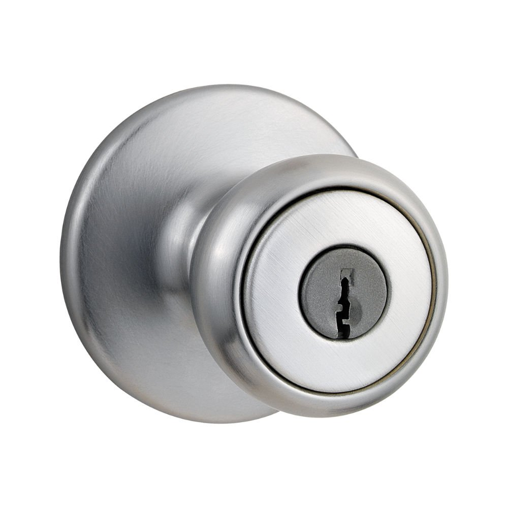 Kwikset Tylo Entry Knob In Satin Chrome   Bedroom Door Lock With Key    Amazon.com