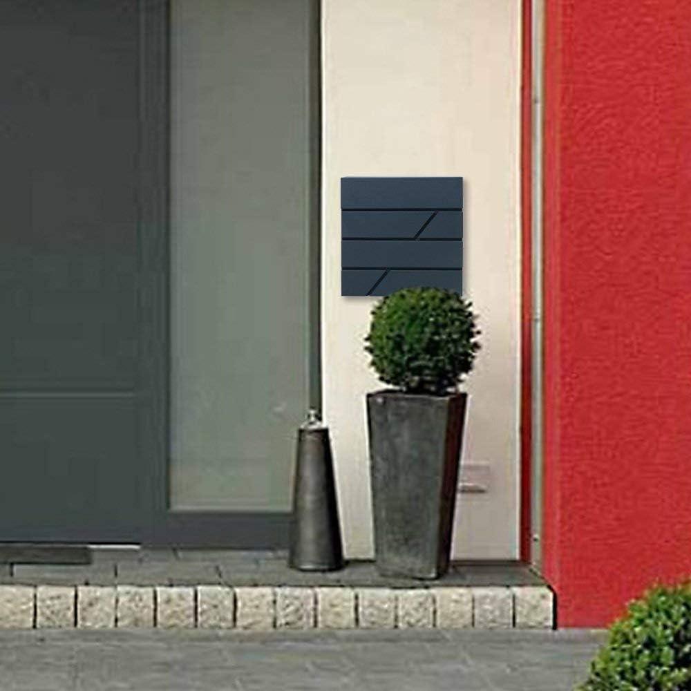 Typ B AUFUN Briefkasten Anthrazit mit Zeitungsfach Modern Wandbriefkasten mit Zeitungsrolle Design Post Edelstahl Mailbox Wetterfest Postkasten Gro/ß Elegant