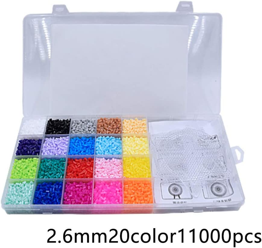 LZDseller01 11000 Unids Hama Beads, Deluxe Hama Bead Kit, Hama Beads Set Educational 20 Colors, 2.6mm Fuse Beads for Kids Crafts