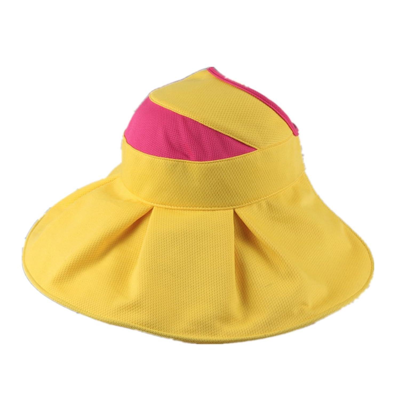 ホームPreferレディースワイドつばサンバイザー帽子Vented調節可能な太陽保護キャップ B06XBLLV17  イエロー