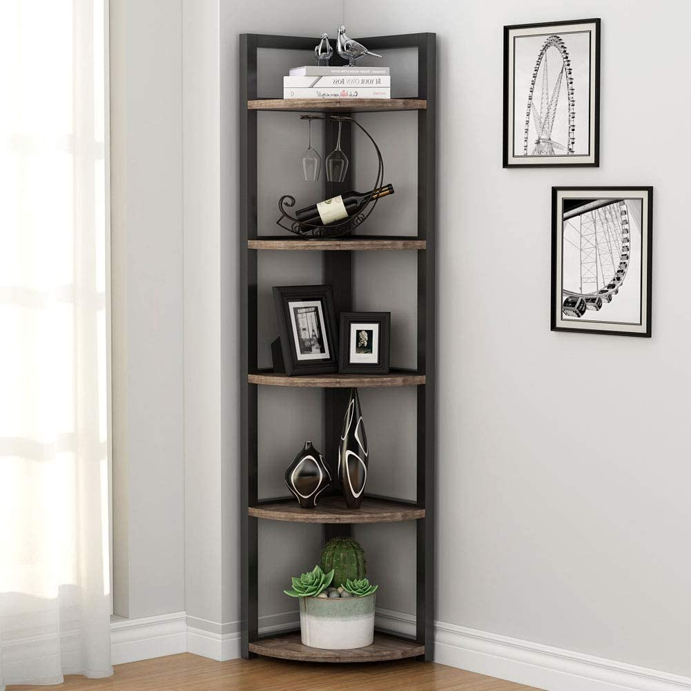 Tribesigns 5 Tier Corner Shelf, Rustic Corner Storage Rack Plant Stand  Small Bookshelf for Living Room, Home Office, Kitchen, Small Space
