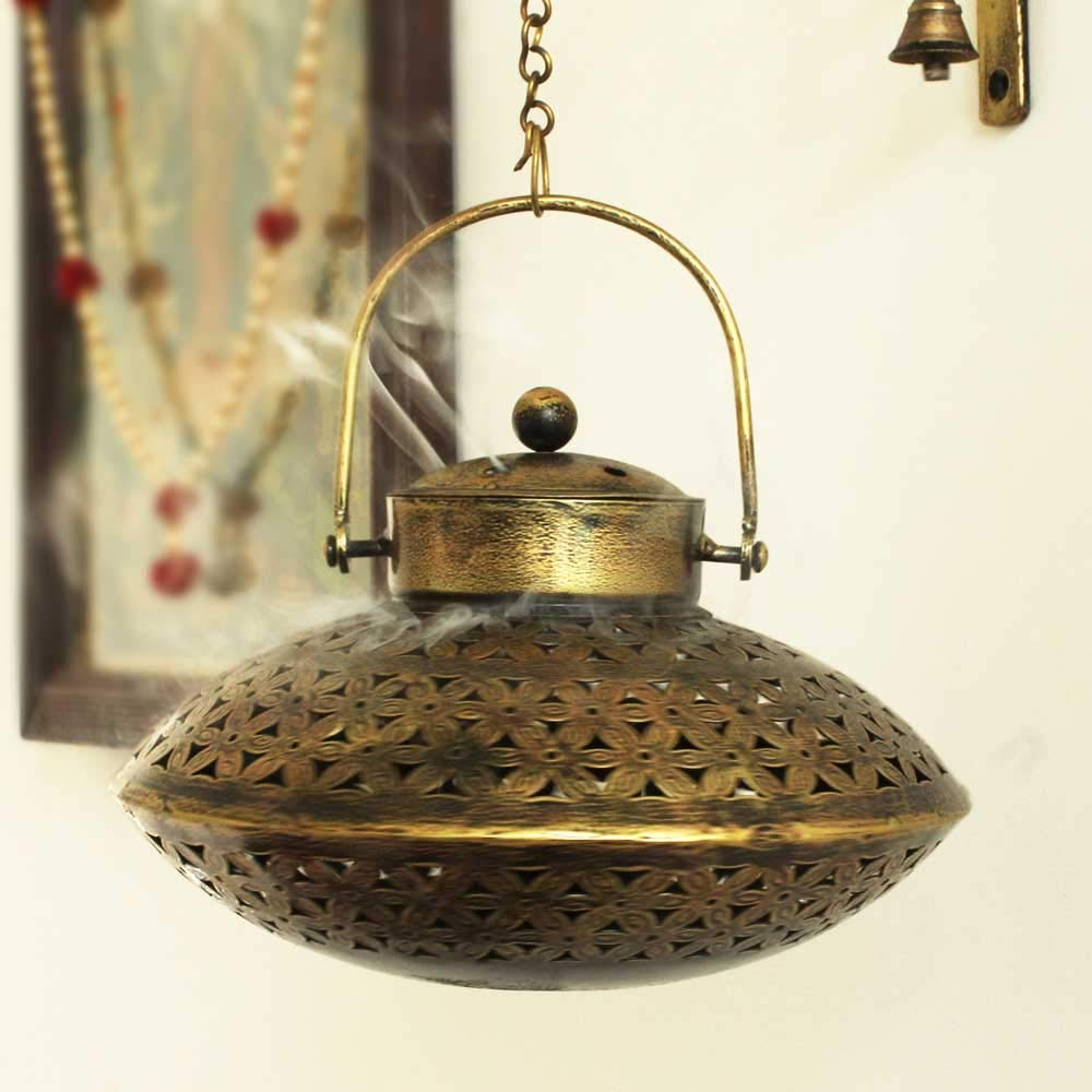 Giant Roots Handcrafted Iron Degchi Handi Pot - A Dhoop Incense Holder with Brass Bell Art Iron Hanger- 9''x9''x 6'' by Giant Roots (Image #8)