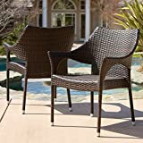 Del Mar Outdoor | Wicker Stacking Chairs | Set of 2 | Perfect for Patio | MultiBrown