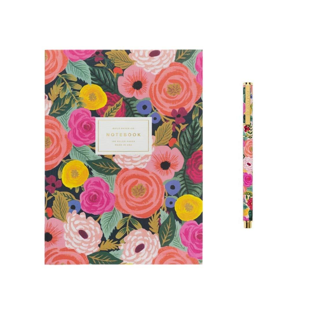 Rifle Paper Deluxe Two Piece Set Memoir Notebook and Pen Juliet Rose