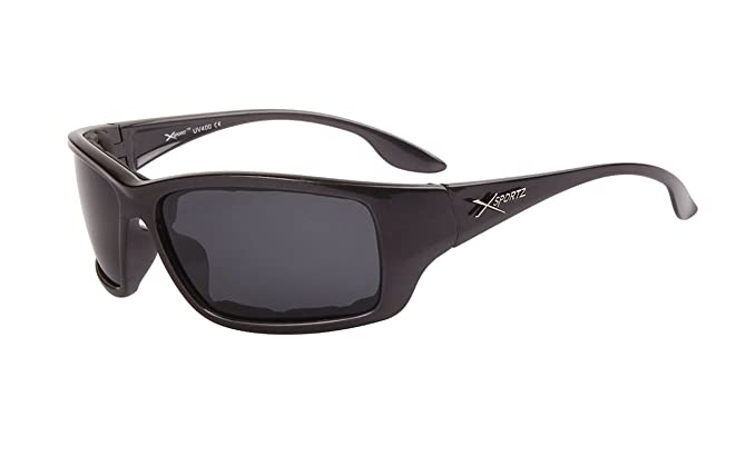 6a5b3e452016 Amazon.com  Dark Grey-fleck Xsportz Active Sports Polarized Sunglasses with Padded  Wrap-around frames and smoke lenses. Adult Men Temple 5.88 inch.