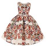 Kids Dream Little Girls Red Floral Jacqaurd Pearl Trim Occasion Dress 2