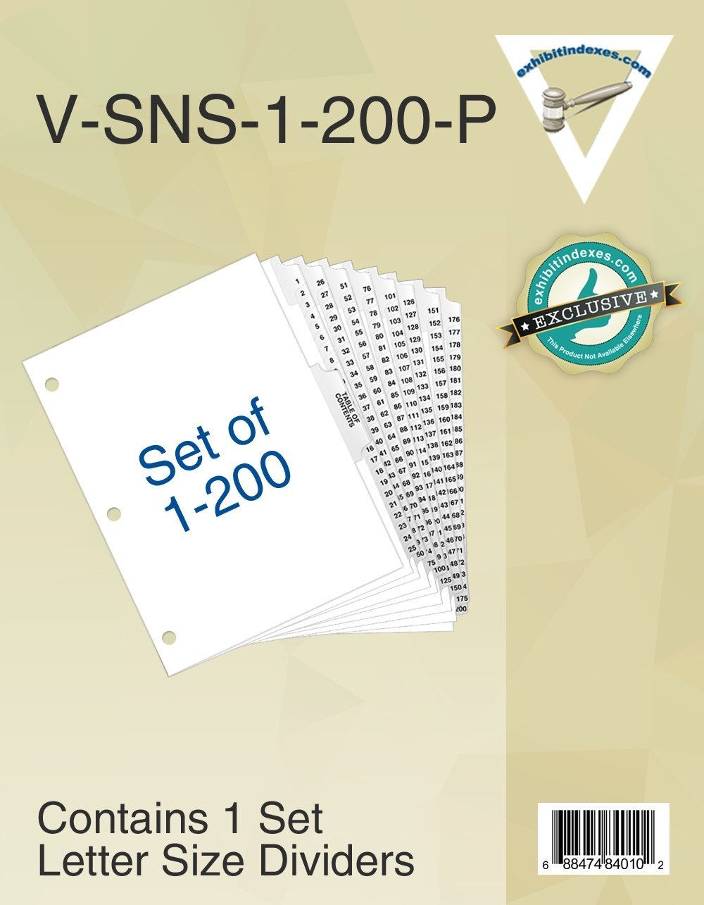1-200 Binder Dividers 3 Hole Punched