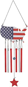 Fun Express Patriotic United States Cutout Wind Chime - Home Decor - 1 Piece