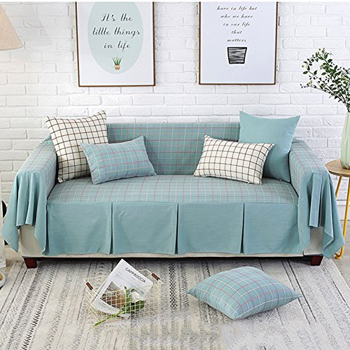 Lovehouse Cotton Linen Sofa cover,Simple lattice Sofa slipcover 1-piece All-inclusive Anti-slip Stain resistant Sofa protector For Living room 1 2 3 4 cushion couch -blue 190x230cm(75x91inch)