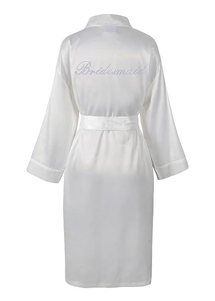 8aa10b4a081 CrystalsRus Varsany Wedding Day Rhinestone Satin Ivory Bridesmaid Bathrobe  Personalised Diamante Dressing gown Kimono  Amazon.co.uk  Kitchen   Home