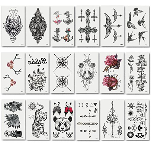 Various Kinds Fashion Temporary Tattoo Transfer Stickers for Adult & Men & Women, Long Time Lasting Body Sticker (20pcs) -