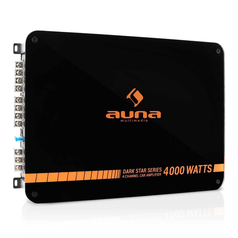 auna Dark Star 2000 • Car Amplifier • HiFi Verstärker • 2-Kanal Auto-Endstufe • 2000 Watt • brückbar • 2/1-Kanal Betrieb • Tiefpass-Filter • orange-schwarz ADSO-6100-sfke