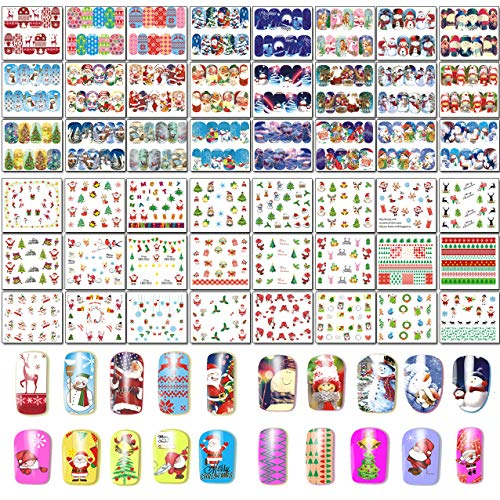 48 Sheets Christmas Nail Art Stickers - Water Transfer DIY Nail Decals Stencil for Women Girls Kids Manicure Nail Salon (Art Kids Nail Christmas For)
