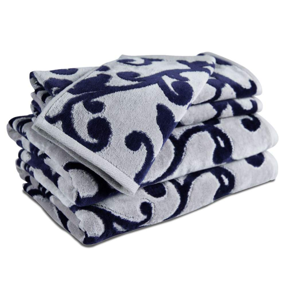 CDM product Caravalli 5 Piece Towel Set, Chelsea Navy Scuplted Cotton Towel Sets, Best Luxury Soft Spa Towels with 2 Hand Towels and Wash Cloth, Large Thick Blue Patterned Hotel Collection Towel Bundle small thumbnail image