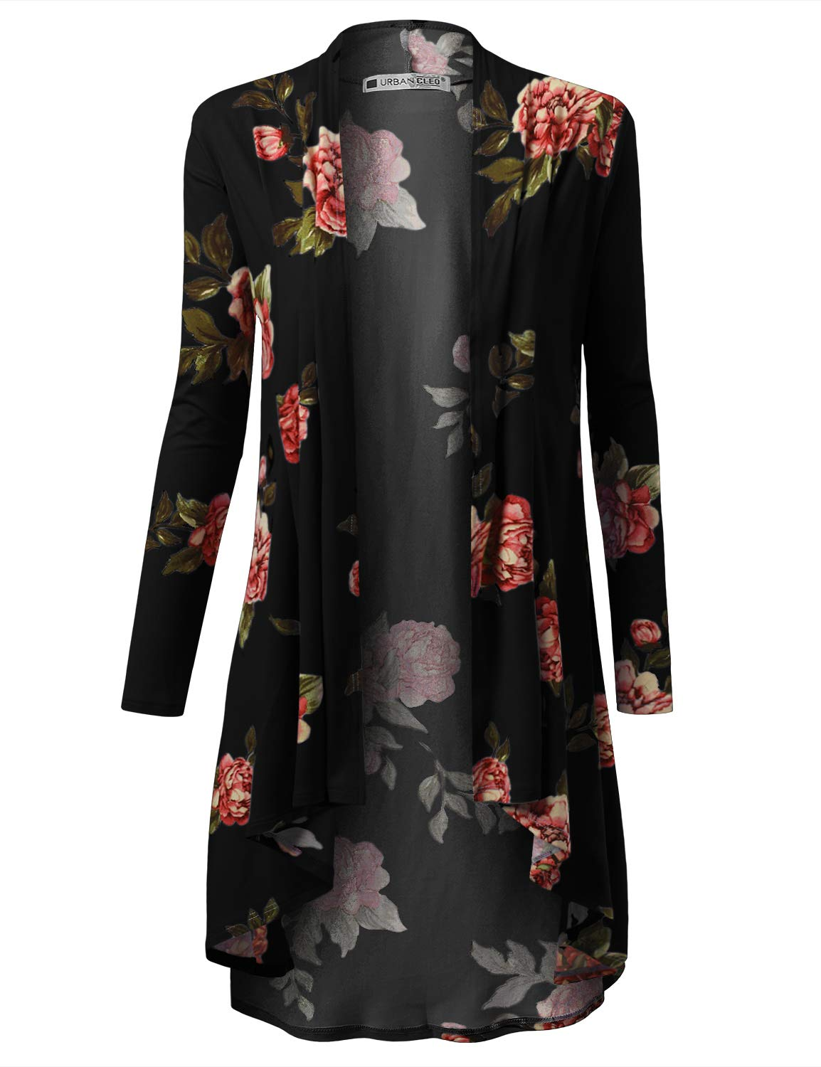 URBANCLEO Womens Floral Hi-Lo Open Front Long Cardigan Black, XL by URBANCLEO